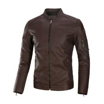 Fleece Multi Zippers PU Leather Jacket