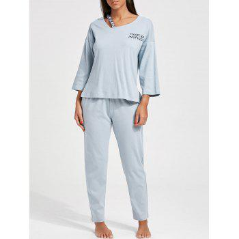 Cotton Long Sleeves PJ T-shirt and Pants