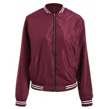 Zip Up Baseball Jacket with Color Trim