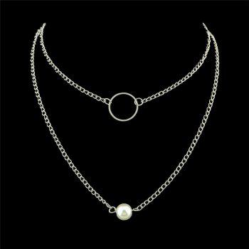 Faux Pearl Hoop Pendant Alloy Layered Necklaces