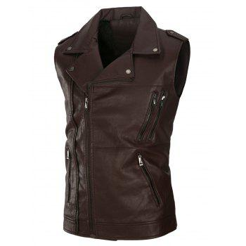Multi Zippers Fleece PU Leather Waistcoat