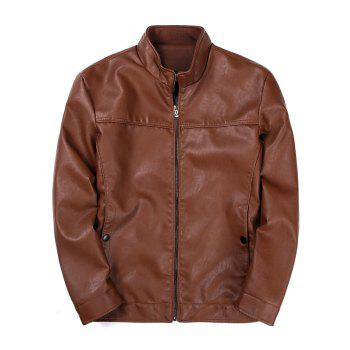 Padded Zip Up PU Leather Jacket