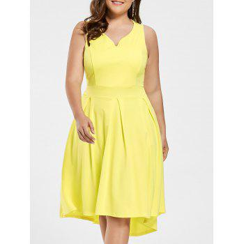 High Low Sleeveless Plus Size Dress Yellow2xl In Plus Size
