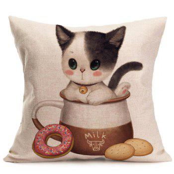 Linen Cat Enjoying Food Printed Throw Pillow Case - GRAY W18 INCH * L18 INCH