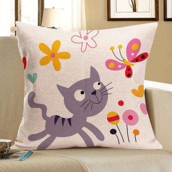 Cat Catching Butterfly Print Square Pillow Case