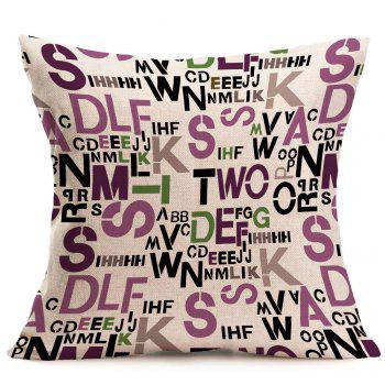 Linen Messy Letters Printed Square Pillow Case - GRAY W18 INCH * L18 INCH