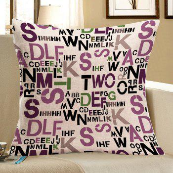 Linen Messy Letters Printed Square Pillow Case
