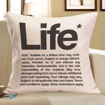 Linen Letter Life Printed Square Throw Pillow Case