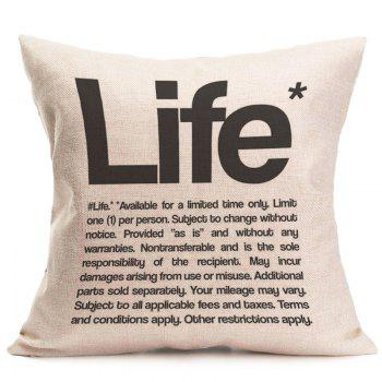 Linen Letter Life Printed Square Throw Pillow Case - GRAY W18 INCH * L18 INCH