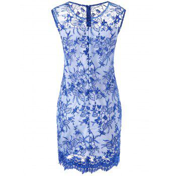 Embroidery Floral Sheer Fitted Dress - BLUE/WHITE XL