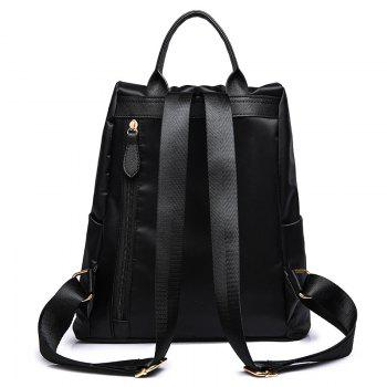 Embroidered Nylon Backpack -  BLACK