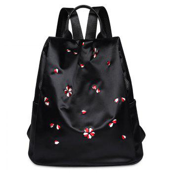 Embroidered Nylon Backpack - BLACK BLACK