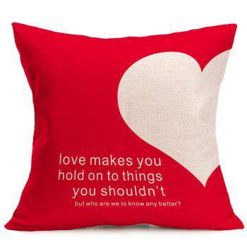 Love Heart Printed Square Pillowcase - RED W18 INCH * L18 INCH
