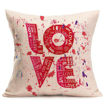 Love Tie Dye Printed Linen Decorative Pillow Case - RED W18 INCH * L18 INCH