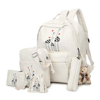 5 Pieces Animal Printed Canvas Backpack Set - OFF-WHITE OFF WHITE