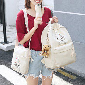 5 Pieces Animal Printed Canvas Backpack Set -  OFF WHITE