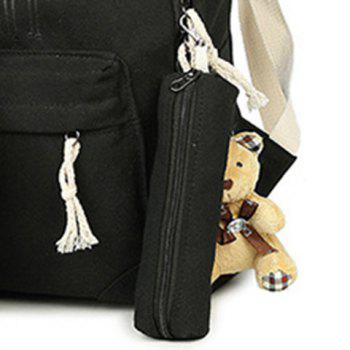 5 Pieces Animal Printed Canvas Backpack Set - BLACK