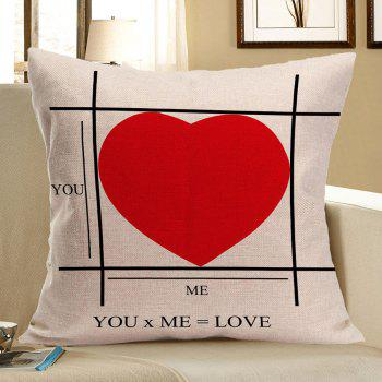 Red Heart Pattern Linen Decorative Pillow Case - RED RED