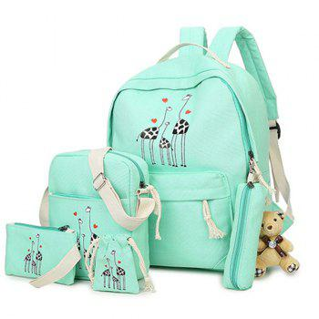 5 Pieces Animal Printed Canvas Backpack Set - LIGHT GREEN LIGHT GREEN