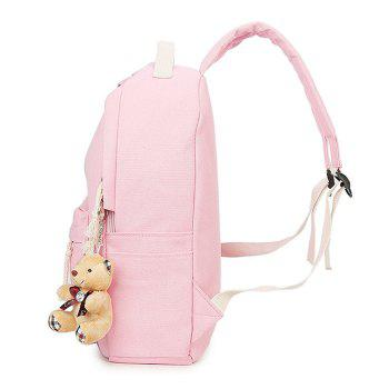 5 Pieces Animal Printed Canvas Backpack Set - PINK