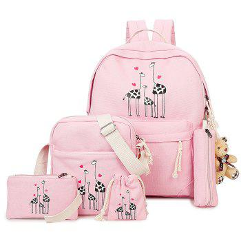 5 Pieces Animal Printed Canvas Backpack Set - PINK PINK