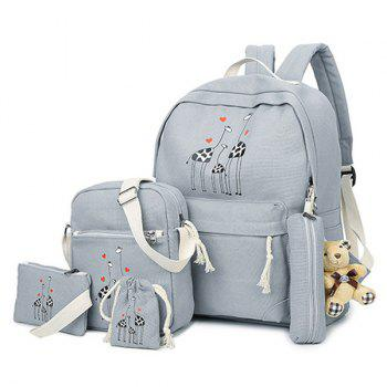 5 Pieces Animal Printed Canvas Backpack Set - GRAY GRAY
