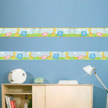 Elephant Giraffe River Horse Home Wall Sticker - Bleu