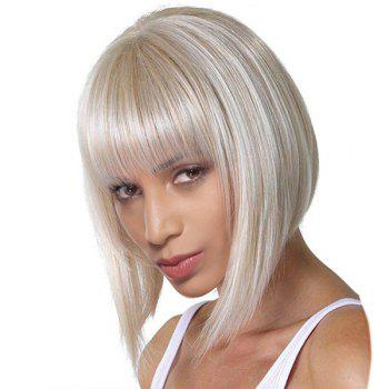 Short Neat Bang Silky Straight Bob Synthetic Wig