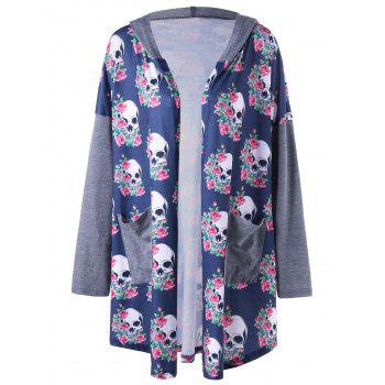 Plus Size Hooded Skulls Print Cardigan