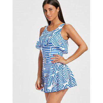 Flounce Striped Skirted Swimsuit - L L