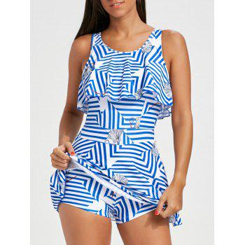 Flounce Striped Skirted Swimsuit - STRIPE L
