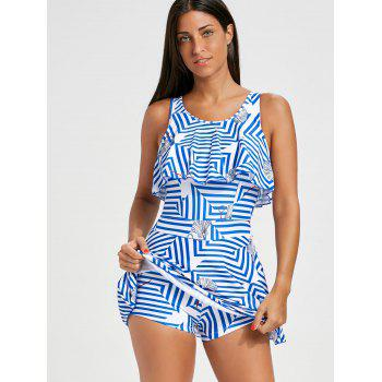 Flounce Striped Skirted Swimsuit - STRIPE STRIPE