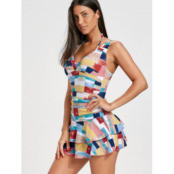 Color Block Flounce Skirted Swimsuit - XL XL