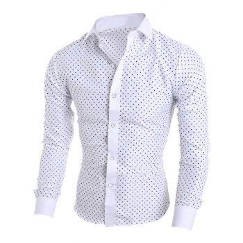 Star Print Long Sleeve Shirt - WHITE L