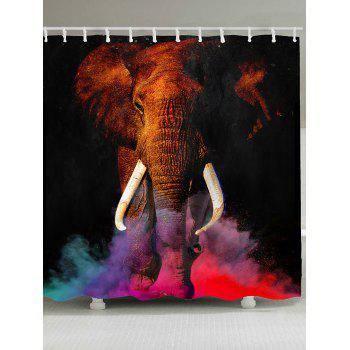 Colorful Smog Elephant Pattern Waterproof Shower Curtain