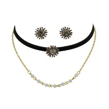Beading Sunflower Choker Necklace and Earrings