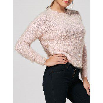 Faux Pearl Embellished Knit Fuzzy Sweater