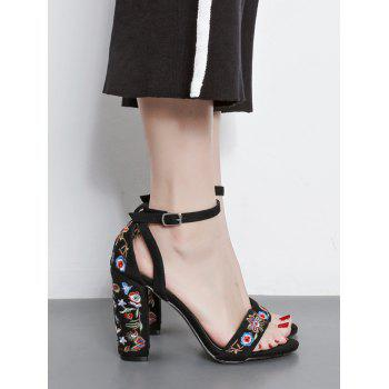 Ankle Strap Block Heel Embroidered Sandals - 38 38