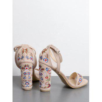 Ankle Strap Block Heel Embroidered Sandals - 39 39