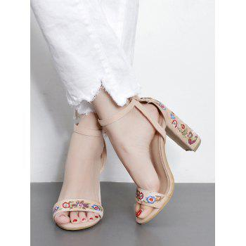 Ankle Strap Block Heel Embroidered Sandals - 40 40