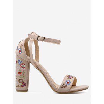 Ankle Strap Block Heel Embroidered Sandals - APRICOT 37