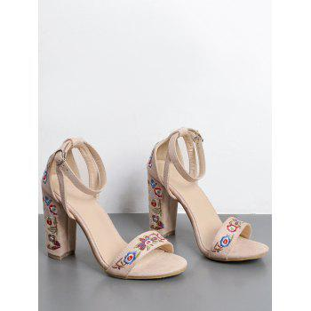 Ankle Strap Block Heel Embroidered Sandals - APRICOT APRICOT