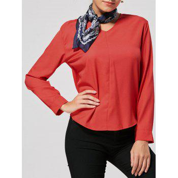 High Low V Neck Tunic Blouse