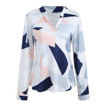 Long Sleeve V Neck Color Block Blouse