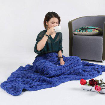 Super Soft Chunky Knitted Throw Blanket - BLUE 116*200CM