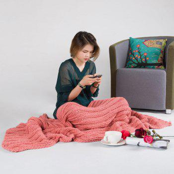 Super Soft Chunky Knitted Throw Blanket - PEACH RED PEACH RED