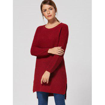 High Low Slit Knit Dress - WINE RED WINE RED