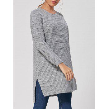 High Low Slit Knit Dress - GRAY ONE SIZE