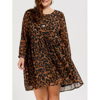 Chiffon Plus Size Long Sleeve Leopard Printed Smock Dress