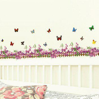 Butterfly Flower Fence Decorated Wall Sticker - PURPLISH RED
